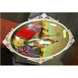 LARGE ANTIQUE METAL FRAMED BRITTANIA PAINTING -