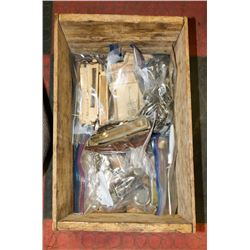 VINTAGE WOOD BOX FILLED WITH VINTAGE WATCH/CLOCK
