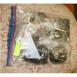 BAG OF ANTIQUE CLOCK/WATCH GEARS, PARTS AND