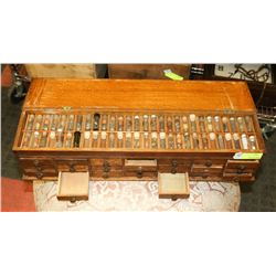 ANTIQUE HOROLOGICAL WORK BENCH CABINET WITH