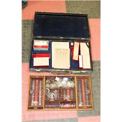ANTIQUE EYE TESTING KIT IN CASE INCL LENSES AND