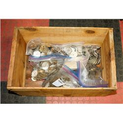 VINTAGE BOX OF ANTIQUE POCKET WATCH AND CLOCK