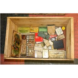 VINTAGE WOOD BOX FILLED WITH COLLECTOR TINS,