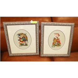 PAIR OF HUMMEL NEEDLE POINT PICTURES.