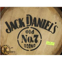 JACK DANIELS OLD NO. 7 BRAND LOGOED BARREL, USED