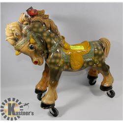 ANTIQUE CHILES RIDING PONY ON WHEELS