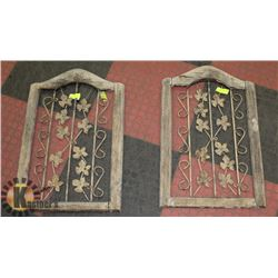 PAIR OF ANTIQUE WOOD & CAST IRON WALL