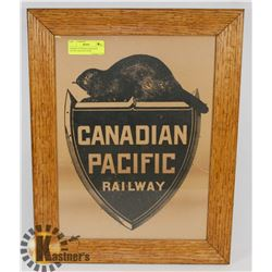FRAMED ANTIQUE CANADIAN PACIFIC RAILWAY SIGN
