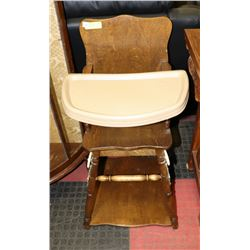 ANTIQUE WOOD BABY AND CHAIR