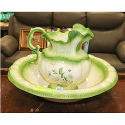 1975 GREEN AND WHITE WITH DAISIES BASIN & PITCHER