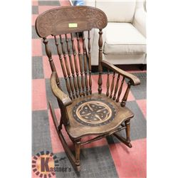 WOOD ROCKING CHAIR WITH CELTIC DESIGN SEAT
