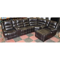 NEW BORDEAUX 7PC LEATHERETTE DOUBLE CONSOLE