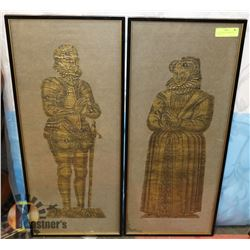 2 ENGLISH BRASS RUBBINGS, 13-1/2 X 32 TALL