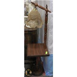 VINTAGE SOLID WOOD CORNER FLOOR LAMP