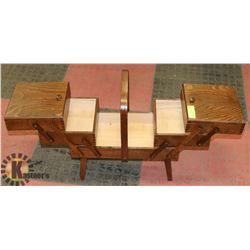 VINTAGE WOODEN ACCORDIAN STYLE SEWING BOX,