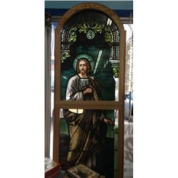 ANTIQUE CHURCH WINDOW APPROX 7FT HIGH PROTECTED