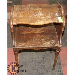 ANTIQUE 2-SHELF SIDE TABLE