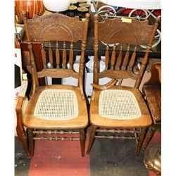 2 PRESSBACK CHAIRS, VARIOUS CONDITION