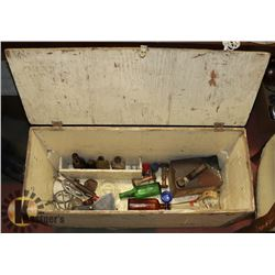 ANTIQUE WOOD BOX WITH TOOLS