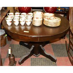 VINTAGE ROUND WOOD KITCHEN TABLE