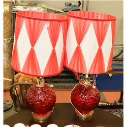 PAIR OF VINTAGE RED LAMPS WITH BRASS ACCENTS