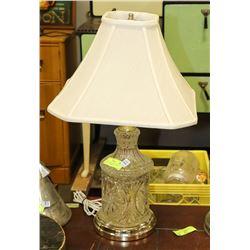 1950'S PINWHEEL GLASS LAMP, ELECTRIC, TAN SHADE,