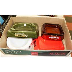 BOX W/ 4 VINTAGE BEER & SCOTCH ASHTRAYS