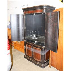 CABINET WITH GRANITE COUNTER TOP AND SINK