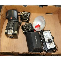 LARGE FLAT OF VINTAGE CAMERAS AND GEAR