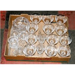 LARGE FLAT OF CRYSTAL GLASSWARE AND SERVING ITEMS