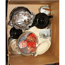BOX OF ESTATE TEA POTS AND MORE