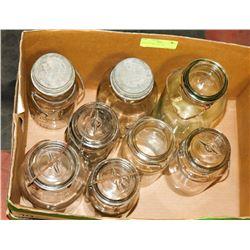 BOX OF 8 VINTAGE JARS SEALER JARS