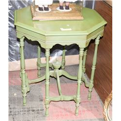 "1950'S OCTOGON TABLE LIGHT GREEN 29"" HIGH, WOOD"