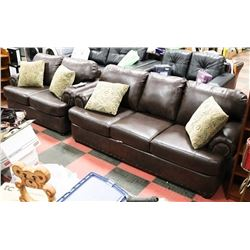 "NEW 1495 BROWN BONDED LEATHER 84"" SOFA  &"