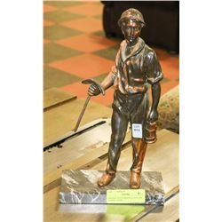 BRONZE STYLE MINER STATUE ON MARBLE BASE.
