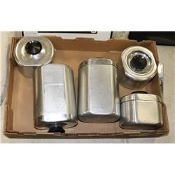 VINTAGE 5PC METAL CANISTER SET, INCLUDES GREASE