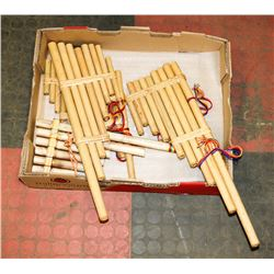 FLAT OF PAN FLUTES, VARIOUS SIZES, BUMBOOK MAPLE