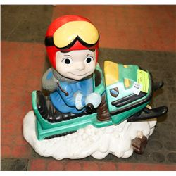 VINTAGE HAND PAINTED CERAMIC SNOWMOBILE FIGURE.