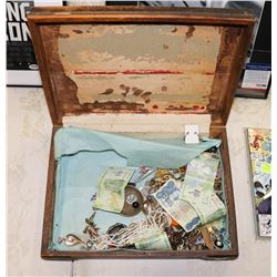 ESTATE BOX OF JEWELLERY ANTIQUES AND COINS.