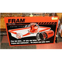TIN FRAM OIL FILTER SIGN, EMBOSSED