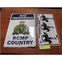 RCMP METAL PARKING SIGN & LICENCE PLATE