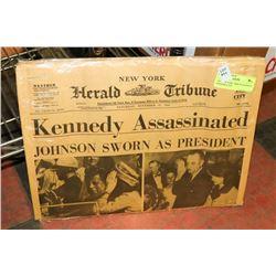 1963 NEW YORK TRIBUNE KENNEDY ASSASSINATED