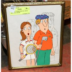ORIGINAL ANIMATION CEL WITH DRAWING, FRAME.