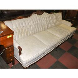 VINTAGE FABRIC AND WOOD CARVED COUCH