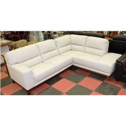 NEW WHITE GENUINE LEATHER CHAISE LOUNGE SECTIONAL