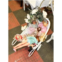 ESTATE COLLECTION OF DOLLS AND WICKER DOLL