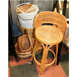 WICKER COUNTERTOP STOOL WITH BASKETS