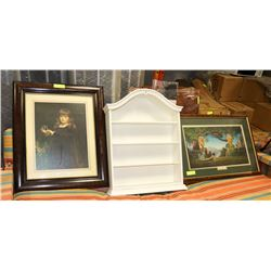 LOT OF 2 PRINTS AND A WOODEN TABLE TOP SHELF
