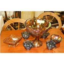 COLLECTION OF CARNIVAL GLASS INCL LARGE CANDY DISH