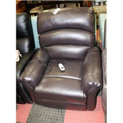 BROWN LEATHERETTE POWER LIFT CHAIR
